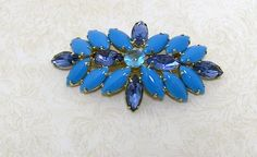 Beautiful Blue Milk Glass & Blue  Rhinestone by heritageheirlooms, $32.00