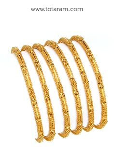 22K Fine Gold Bangles - Set of  6 (3 Pair)