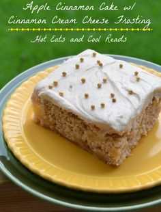 The perfect fall dessert! Apple Cinnamon Cake with Cinnamon Cream Cheese Frosting from Hot Eats and Cool Reads!