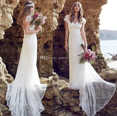 2016 Full Lace Wedding Dresses Backless Anna Campbell Bohemian Bridal Gowns Sweetheart Neckline Cap Sleeves Sweep Train Wedding Gowns Wedding Dress Patterns Wedding Dress Rental From Gonewithwind, $157.07| Dhgate.Com