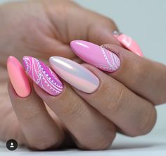 Love this pattern on these pink nails. Elegant Nail Designs, Pretty Nail Designs, Nail Art Designs, Blue Matte Nails, Pink Nails, Cute Nails, Pretty Nails, Acrylic Nails, Gel Nails