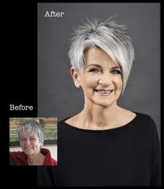 For this casual messy bun you only need a hair tie and a hair clip - frisuren - ombre haare Short Silver Hair, Short Grey Hair, Medium Short Hair, Medium Hair Cuts, Medium Hair Styles, Funky Short Hair, Short Shag, Gray Hair, Blue Hair