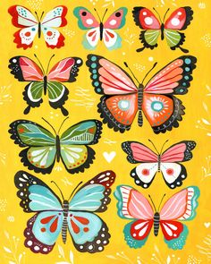 """Bring your walls to life with the Greenbox Art Katie Daisy Yellow Butterfly"""" Wheatpaste Poster. This colorful poster features a stylish butterfly design. Butterfly Wall Art, Butterfly Painting, Pink Butterfly, Butterfly Design, Daisy Painting, Painting Prints, Art Prints, Canvas Wall Art, Canvas Prints"""