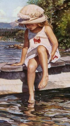 Getting her feet wet • artist: Steve Hanks on Artifacts Gallery