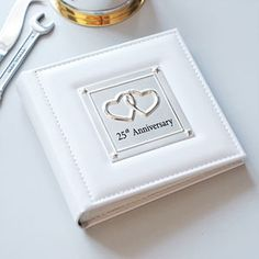 Popular Leather and #Silver 25th Wedding #Anniversary Photo Album.