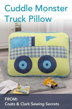 Cuddle Monster Truck Floor Pillow Sewing DIY Project in Cuddle fabric - tutorial by @coatsandclark http://shannonfabrics.com/blog/2016/07/25/cuddle-monster-truck-floor-pillow/