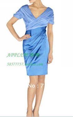 EMS Free Shipping brand elegant ruched satin short evening dress/ red/khaki/blue lady evening dress