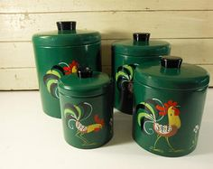 Vintage Ransburg Genuine Hand Painted Canister Set, Dark Green with Roosters, Set of 4 Nesting Canisters