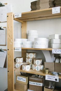 Beautiful, eco-friendly soy candles from Brooklyn Candle Studio Home Office Design, Home Office Decor, Packing Station, Atelier Creation, Business Storage, Candle Packaging, Candle Labels, Workspace Inspiration, Home Office Organization