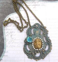 Brass Mermaid Necklace Vintage Mermaid Pendant Green by LilisGems