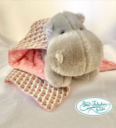"""Unique lovey blanket with stuffed hippo and her very own minky and flannel """"cape""""