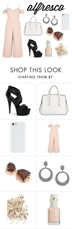 """""""Girls night out"""" by stellafalls ❤ liked on Polyvore featuring Pleaser, French Connection, River Island, Sheryl Lowe and Topshop"""
