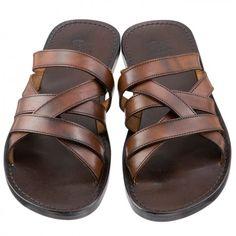 Brown Leather Cross Strap Sandals, Men's Spring Summer Fashion.