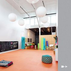 ore studios interior design om kids yoga center i like the lantern lights and the high ceilings and it is great for a kids yoga space colourful
