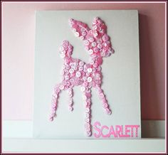 Personalised girls (pink) or boys (blue) button art on canvas in shape of a deer on Etsy, $30.28