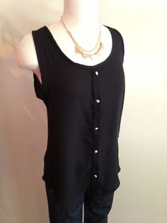 $24 - Black button down tank