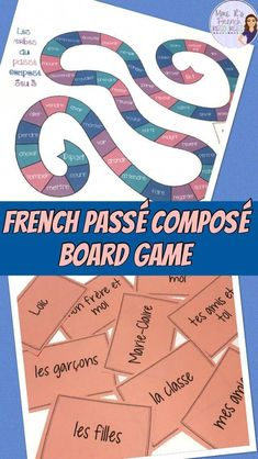 Board game for the French passé composé conjugatio French Flashcards, French Worksheets, French Teacher, Teaching French, Passe Compose French, High School French, Learn To Speak French, Core French, French Classroom