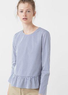 Striped poplin blouse | MANGO