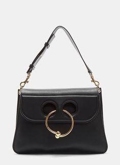 J.W.ANDERSON Medium Pierced Crossbody Handbag In Black. #j.w.anderson #bags #shoulder bags #hand bags #lining #crossbody #suede #