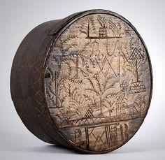 Early carved Swedish Svepask storage box.