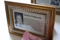 "op said ""I got this fabulous idea online and then created my own bios for each bridesmaid to display at my shower and then again at our wedding. Inside each 4x6 frame I wrote a short piece about how I met each bridemaid and why I love them with a small picture. I have 10 of the 4x6 frames and the small title frame with the ""Meet the Maids"" words inside. Our guests loved this idea and so did my girls!"""