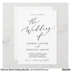 Delicate Black Calligraphy All In One Wedding Invitation Black And White Wedding Invitations, Classic Wedding Invitations, Wedding Invitation Cards, Custom Invitations, Invites, Minimalist Wedding Invitations, Shower Invitations, Wedding Stationery, Whimsical Wedding