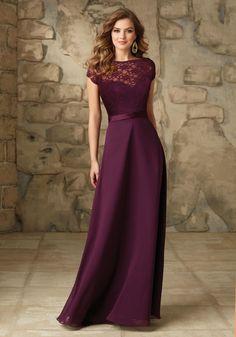 090 Satin and Chiffon Bridesmaid Dress with Removable Lace Bateau Jacket