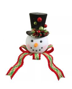 "Snowman head tree topper ""Holly and Houndstooth"" wearing a black Charles Dickens top hat & plaid ribbon. RAZ Imports item #3516561. 14"" high & 12"" across. Has a hole in the bottom so it can be used as a tree topper. Looks great on a wreath or a tabletop too! We have several other versions too! Polyester foam ball head with a felt hat over paperboard."