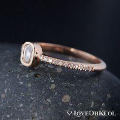 ON SALE Rose Cut Cushion Shape Diamond Ring Micro by lovebyohkuol Minimalist Wedding Rings, Diamond Sizes, Round Cut Diamond, Promise Rings, Semi Precious Gemstones, Colored Diamonds, Cushion, Silver Rings, White Gold
