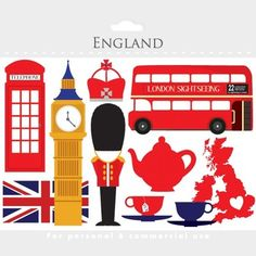 London Clipart - England Clip Art, Travel, Uk, Tea, Bus, Double Decker, Flag