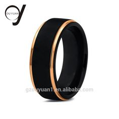 Christmas Jewelry New Black Men's Engagement Wedding Band Black and Rose Gold Tungsten Ring