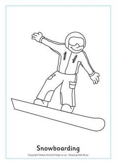 Snowboarding Colouring Page Winter Olympics printables. Olympic Idea, Olympic Sports, Olympic Games, Colouring Pages, Coloring Books, Olympic Crafts, Pyeongchang 2018 Winter Olympics, Sport Craft, Snowboarding