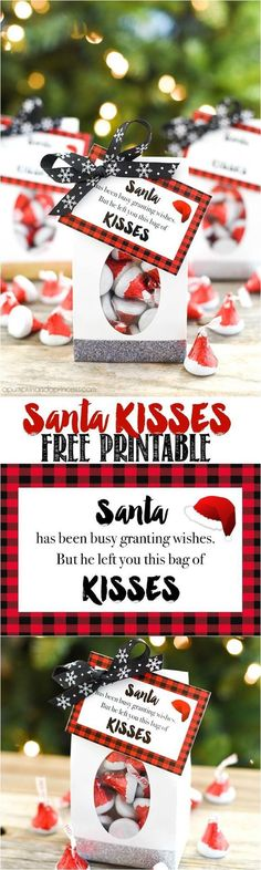 Santa KISSES Christmas treat bags with cute FREE Printable Gift Tags to attach for a sweet neighbor, friend or teacher gift this holiday season! | A Pumpkin and a Princess