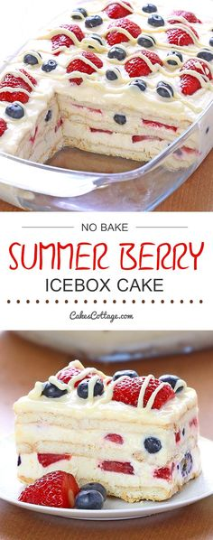 Bake Summer Berry Icebox Cake - Cakescottage Looking for a quick and easy Summer dessert recipe? Try out delicious No Bake Summer Berry Icebox Cake !Looking for a quick and easy Summer dessert recipe? Try out delicious No Bake Summer Berry Icebox Cake ! Easy Summer Desserts, Summer Dessert Recipes, Recipes Dinner, Easy Delicious Desserts, Summer Treats, Easy Summer Dinners, Food For Summer, Summer Cakes, Easy Dinner Party Desserts