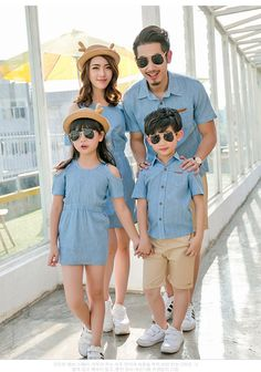 Jeans matching father mother daughter clothes mommy me couple dress family look Mom And Baby Outfits, Trendy Baby Boy Clothes, Boys And Girls Clothes, Kids Outfits, Matching Dress For Family, Matching Outfits Best Friend, Father Son Matching Outfits, Mommy And Me Shirt, Mommy And Son