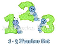 Caterpillar Worm Birthday Number Set Applique Machine Embroidery Design Download 2rd second INSTANT DOWNLOAD