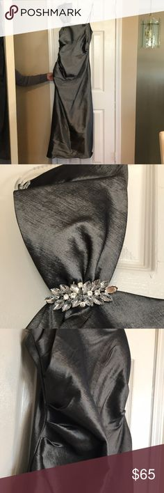 Pewter one shoulder gown Gorgeous pewter gown with one shoulder detail, rouching detail on the sides and in the back. Worn once in great condition size 14. Night way brand purchased from David's bridal Nightway Dresses One Shoulder
