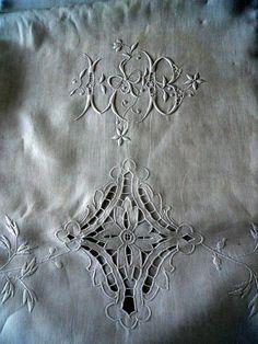 Drap de lin pur Français ancien monogramme LB du par MadameSoussou