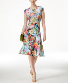 If this is ever available in my size, I'm getting it!  ECI Floral-Print A-Line Scuba Dress