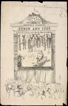 A print of a pen and ink sketch titled G. Hadfield's Sheffield Champion, Punch and Judy. Covent Garden, Sheffield, Punch And Judy, Pantomime, Victoria And Albert, Victorian Christmas, Christmas Traditions, Puppets, Fine Art