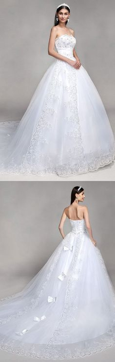 Ball Gown Sweetheart Neckline Cathedral Train Tulle Over Lace Made-To-Meature Wedding Dresses with Bowknot / Beading M3919