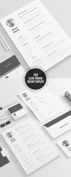 Creative cv template layout Free Minimalistic CVResume Templates with Cover Letter Template - 1 Resume Cover Letter Template, Resume Design Template, Letter Templates, Resume Templates, Free Cv Template, Cv Inspiration, Cv Design, Graphic Design, Print Design
