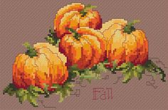 Fall Harvest picture p Fall Cross Stitch, Cross Stitch Fruit, Cross Stitch Kitchen, Cross Stitch Needles, Cross Stitch Baby, Cross Stitch Kits, Cross Stitch Designs, Cross Stitch Patterns, Felt Embroidery