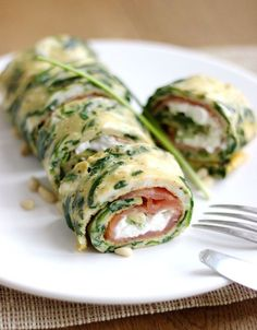 Egg and spinach omelet with greek yogurt cream cheese and smoked salmon - Delicious! whole family loved it!