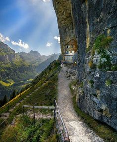 Crazy spot. Ascher Guesthouse in Switzerland. It can only be accessed by a combination of cable car and hiking.  Photo by @roberts_rs by followmefaraway