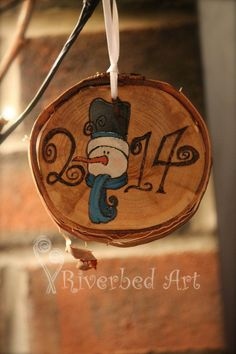 2014 Christmas Pyrography Snowman Ornament by RiverbedART on Etsy