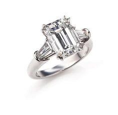 Harry Winston,. Bague diamant ornée d'un diamant taille émeraude (D-VVS1).     http://storage.canalblog.com/24/27/577050/66529673_p.jpg
