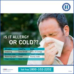 Are you confused in difference between ‪#‎allergy‬ and ‪#‎cold‬ ? Here are the differences described below
