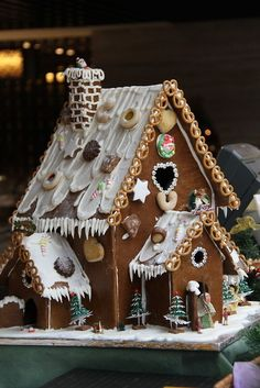 Pretzels decorated Gingerbread house