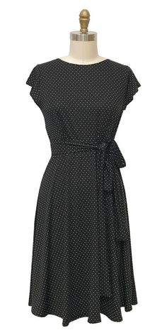 Katharine Dress in Black with White Pin Dots